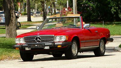 1985 Mercedes-Benz SL-Class ROADSTER 1985 MERCEDES BENZ 380SL ROADSTER BOTH TOPS RED WITH PALOMINO VERY COLLECTIBLE