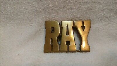 Ray Name Belt Buckle Solid Brass Cutout Vintage Excellent Condition !!!