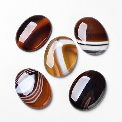 10PCS Natural Striped Banded Agate Oval Cabochon Flat Back Dyed Brown Gemstone