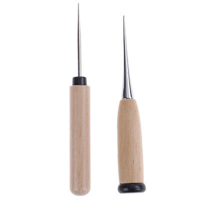 1PC Leather Craft Awl Tool Hole Maker Wooden Handle Sewing Stitching Punching