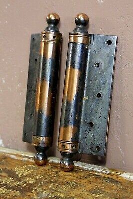 Antique 1915 Japanned Copper Flash Ball Tip Door Hinges medical cabinet case etc