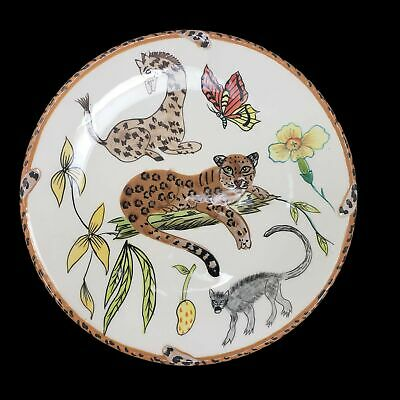 Lynn Chase Jungle Jubilee Salad Plate Handpainted Cheetah Giraffe Butterfly