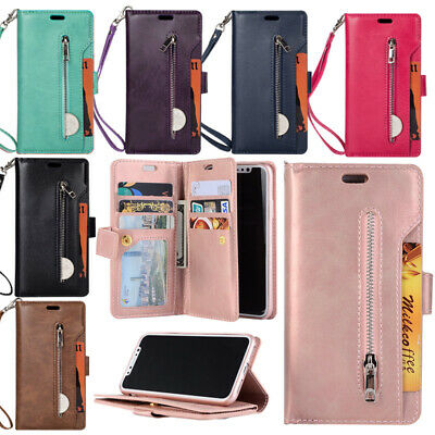 9 Cards For iPhone 8 Plus 7 XS Max XR Wallet Flip Coin Zipper Leather Case Cover