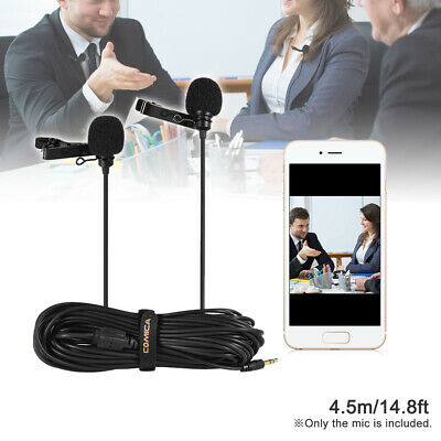 Comica CVM-D02 Dual-head Lavalier Lapel Microphone Clip-on Omnidirectional K9M9