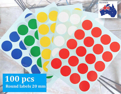 100 Pcs Round Stickers Circle Label Dots Spots Assorted Colour Code Large  20 mm