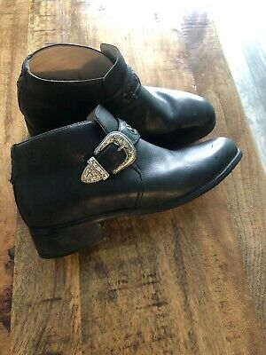 ARIAT Western Black Leather US 7B Belt Buckle Monk Strap Ankle Boots 16401 VTG