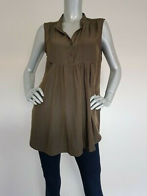 PEA IN A POD women's Olive Green Maternity Nursing long Top/ Blouse. Size 10