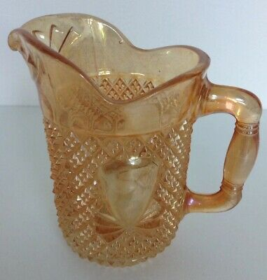 Carnival Glass Milk Jug Orange. Vintage Creamer. Small Milk Jug Retro.