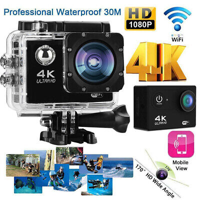 Ultra HD 4K 1080p WIFI Waterproof Sports Action Video Camera Fit Mount Charger G
