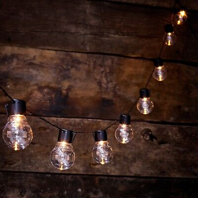 Solar Powered RETRO Bulb String Lights For Garden Outdoor Fairy Summer Lamp UK