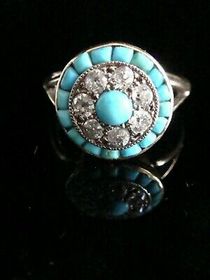 Edwardian Art Deco 18Ct Yellow Gold Turquoise And Diamond Target Cluster Ring