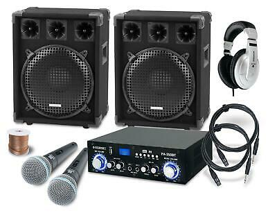 Set Karaoke Dj Pa Hautparleur Amplificateur Bluetooth Microphone Casques 1200W