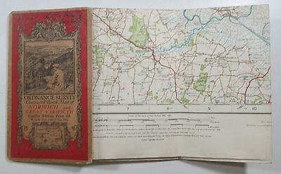 1921 old OS Ordnance Survey one-inch Popular Edition Map 67 Norwich Gt Yarmouth