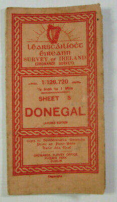 1912 Old Antique OS Ordnance Survey of Ireland Half-Inch Map Sheet 3 Donegal