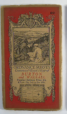 1921 Old OS Ordnance Survey Popular Edition one-inch map Burton and Walsall 62