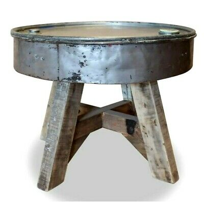 Industrial Coffee Table Unusual Wood Metal Barrel Bar Pub Unique Small Furniture