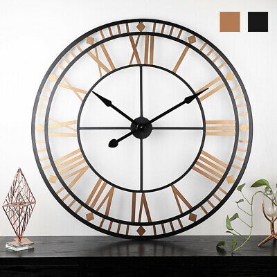 Big Large Outdoor Garden Wall Clock Metal Roman Numeral Round Face Black