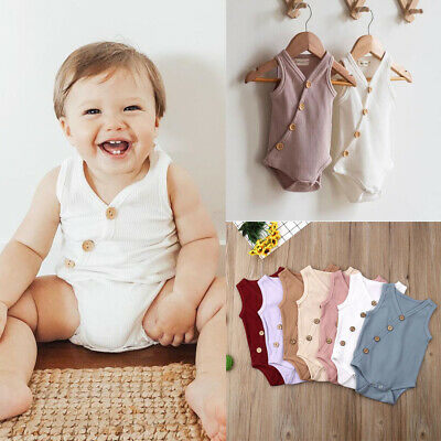 517badce5445 US Newborn Kids Baby Boys Girl Solid Bodysuit Romper Jumpsuit Outfits  Playsuit