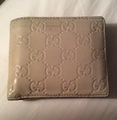45e8e911eba3 Authentic GUCCI Mens Cream Leather GUCCISSIMA Embossed Wallet...RARE COLOR!