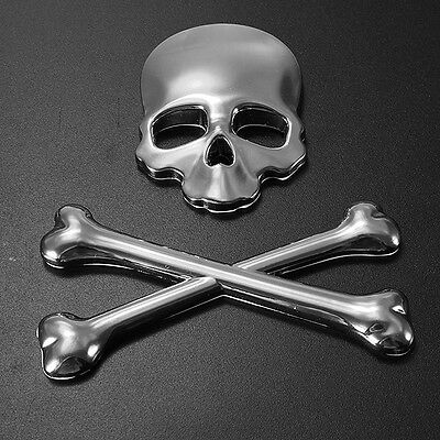 Silver 3D car Skull and crossbones  custom  badge /decal/ sticker chrome  metal