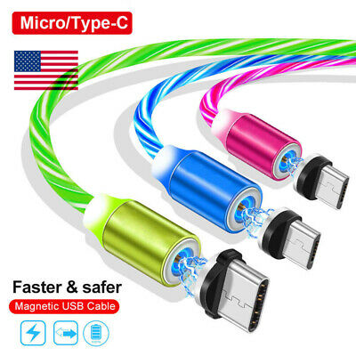 US 360° Magnetic Charger Glowing Micro USB Type C Plug Cable For Android Samsung