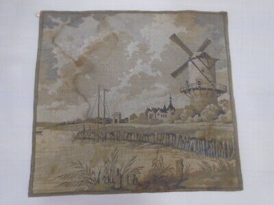 15060 -Old Tapestry  Antique Wall Hanging 20 Century  46 x 50 cm