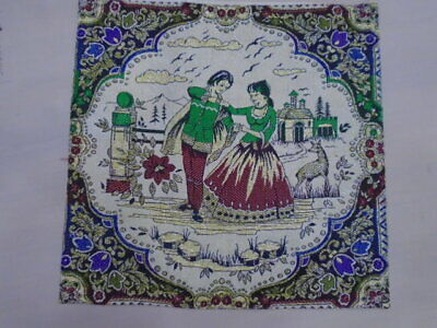 7140 -Old Tapestry  Antique Wall Hanging 20 Century  48 x 40 cm