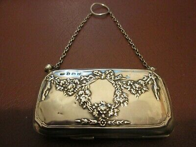 Antique Solid Silver Very Decorative Ladies Finger Purse by Samuel M. Levi