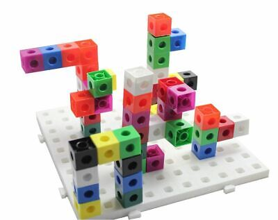 100 x 2cm Snap Cubes & Board - Counting Linking Building Maths Early Learning
