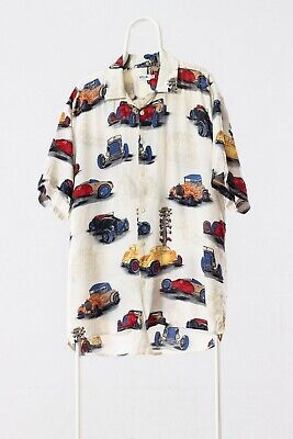 7703fd23 Vintage Men MOSCHINO HAWAIIAN Cars Printed Short Sleeve Aloha Shirt Size XXL  2XL