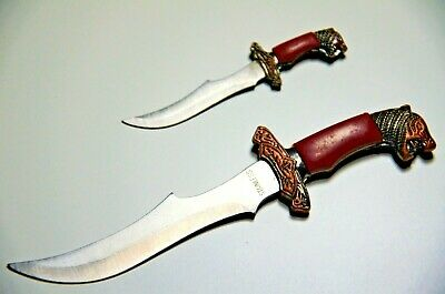 Miniature Tiger Knife Dagger Letter Opener Sword Set Collectible Blade Leather