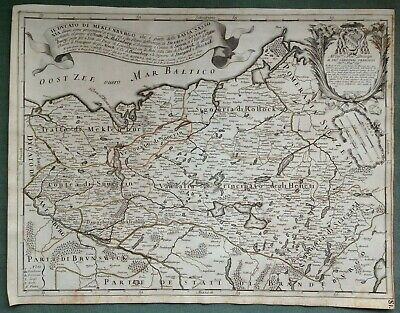 Germany Mecklenburg Dated 1692 Giacomo De Rossi Large Antique Map 17Th Century