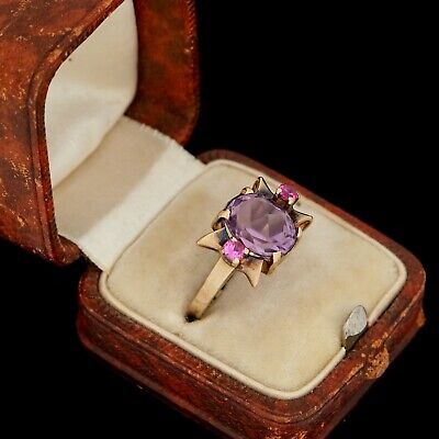 Antique Vintage Deco Retro 10k Yellow Gold Siberian Amethyst & Ruby Ring Sz 5.5