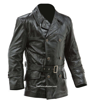 WW1 German fighter pilots leather coat BLACK - 46 inch x large