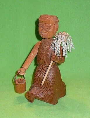 Vintage EASTERN EUROPEAN wood carving of a walking MAN with mop & pail. Detailed