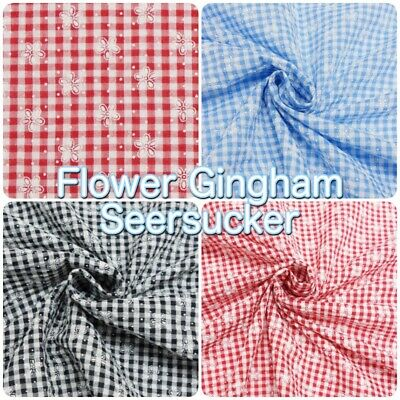 Printed Flower Traditional Seersucker Gingham Crinkle Summer Dressmaking Fabric