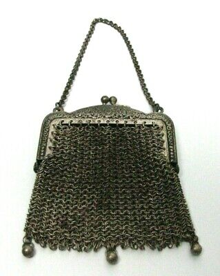 Antique Metal Mesh Coin Purse Victorian 3 Ball Chatelaine Small