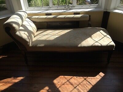 Chaise Longue Edwardian Victorian Sofa Chair Daybed Upholstered Antique