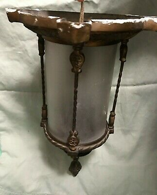 Antique Art Deco Ceiling light fixture, Gold Tone With Frosted Glass Cover