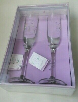 Newly Engaged Pair of Champagne Glass Set Of 2 Engagement wine glass Gifts Set