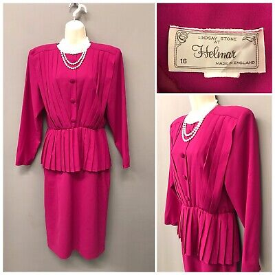 Helmar Lindsay Stone Pink Pleated Dress UK 16 EUR 44