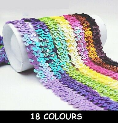 2 or 3 RowBest Price on Strung Sequins 10m Stretch Sequin Trim Pink