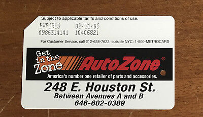 Rare AutoZone NYC Subway MetroCard in mint new condition