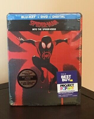 Spider-Man Into The Spider-Verse Steelbook Blu-Ray+Dvd+Digital Best Buy *New*