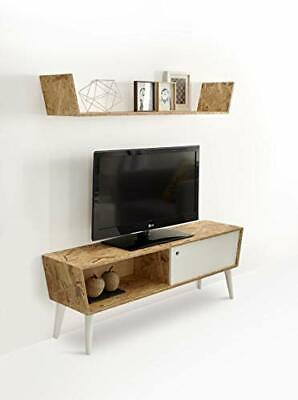 Mueble TV con Estante Superior Madera Reciclada, Estilo Retro Vintage.