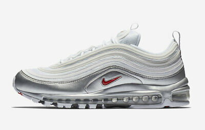 timeless design 61597 be318 Nike Air Max 97 QS WHITE SILVER B-SIDES METALLIC BULLET RED AT5458-100
