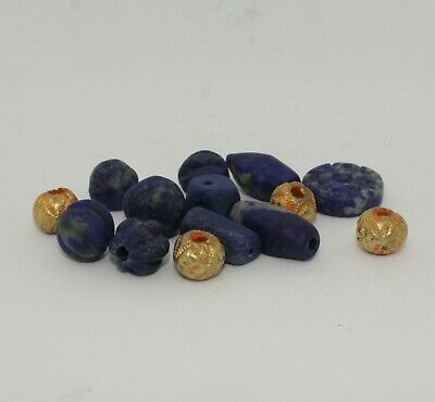Ancient Carved Lapis & Gold Beads - 01