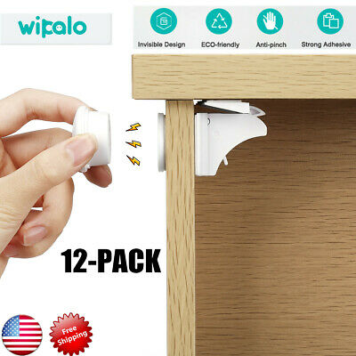 12pcs Magnetic Cabinet Drawer Cupboard Locks for Child Proofing Baby Kids Safety