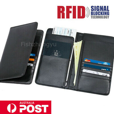 Travel Wallet RFID Blocking Anti Scan Long Passport Holder Synthetic Leather OZ