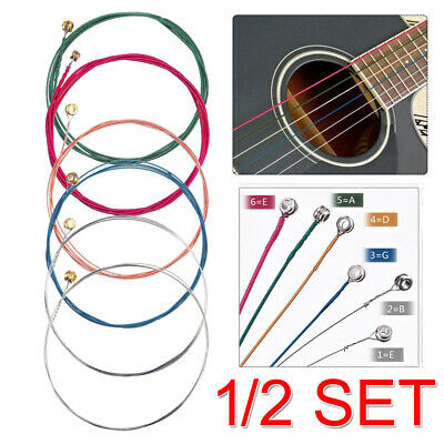 2019 NEW 1/2 Set of 6 Rainbow Color Acoustic Guitar Strings Gift OZ